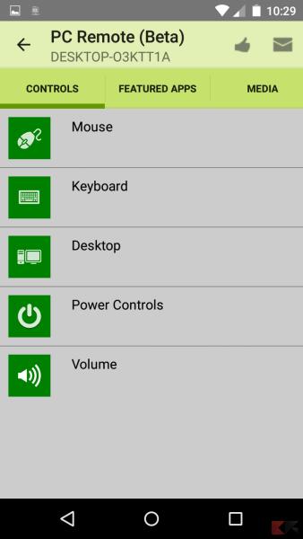 PC remote app home