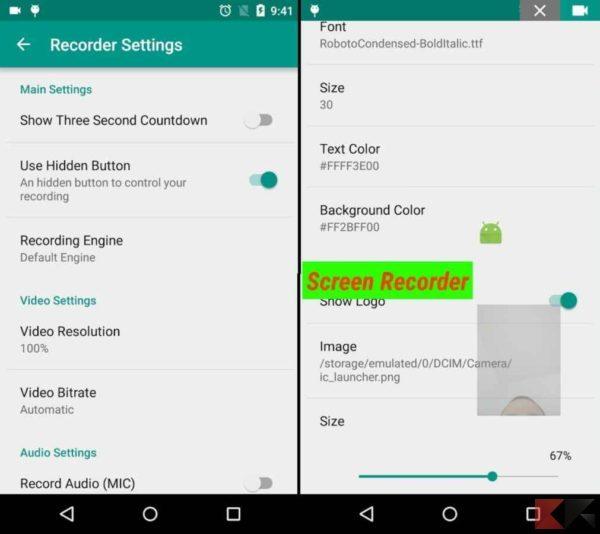 Registrare schermo Android - ADV screen recorder 2