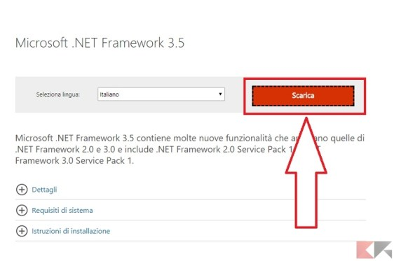 installare .net framework 2.0, 3.0 e 3.5 su Windows 10