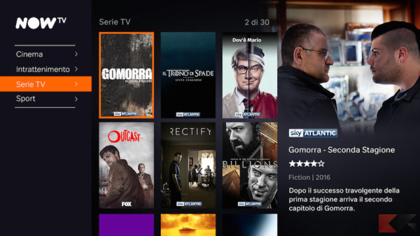 streaming serie Tv: Now TV