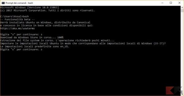 installare la Bash di Linux su windows 10: CMD