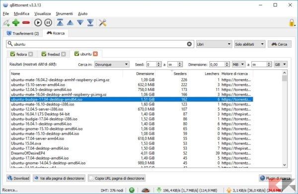 trovare torrent con il motore di ricerca di qBittorrent