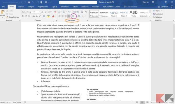 come modificare interlinea Microsoft Word