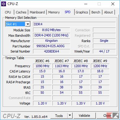 CPU-Z scheda SPD