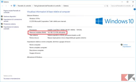 Finestra Sistema come appare in Windows 10. Evidenziata la quantità di RAM installata