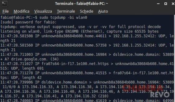 controllare la rete da terminale - tcpdump