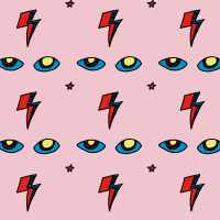 Desktop Wallpaper Free Download // Electric Eye in Pretty Pink Rose // Stardust Baby David Bowie Pattern Design Collection by Calee Cecconi in Ziggy Stardust Colorway
