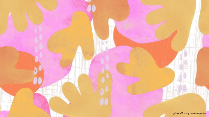 Free desktop wallpaper with abstract flowers and fruit. Pink, yellow, orange, gray.