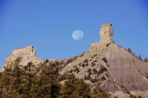 Chimney Rock National Monument, Colorado, and Moon. NPS image.