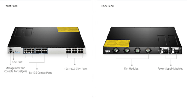Front and Back Panel Overview of S5800-8TF12S Fully-Managed Switch