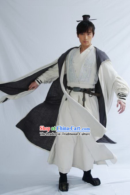 Qin Dynasty Chinese Ancient Swords Man Costumes Complete Set