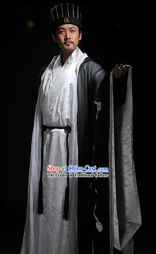 Three Kingdoms Zhuge Liang Costumes and Hat Complete Set