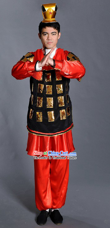 Ancient Chinese Qin Dynasty Period Terra Cotta Warrior Costume and Hat for Men