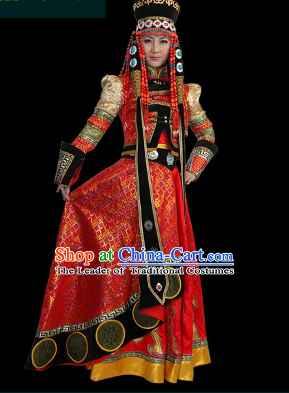 Chinese Mongolian People Yuan Dynasty Mongolians Dance Costumes Queen Princess Empress Clothing