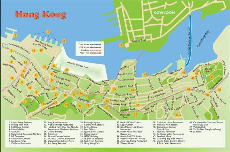 Hong Kong Tourist Map   Top Attractions. Transportation and More
