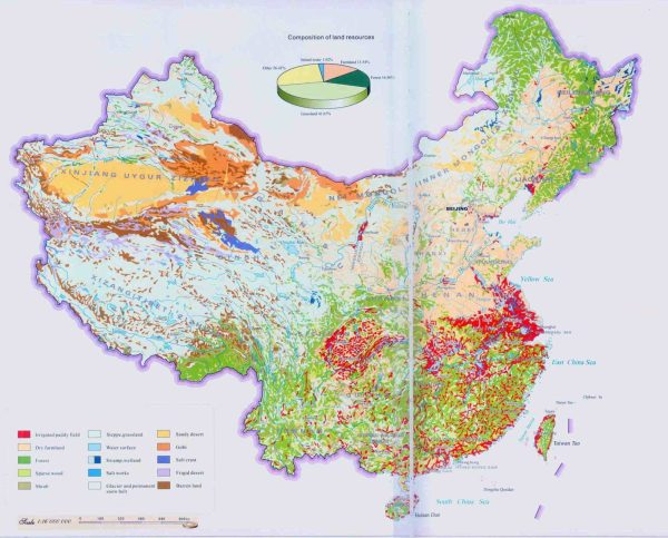 Physical Map of China 20102011 Printable relief maps