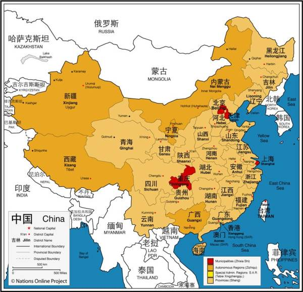 China provinces map 20112012 Printable maps showing