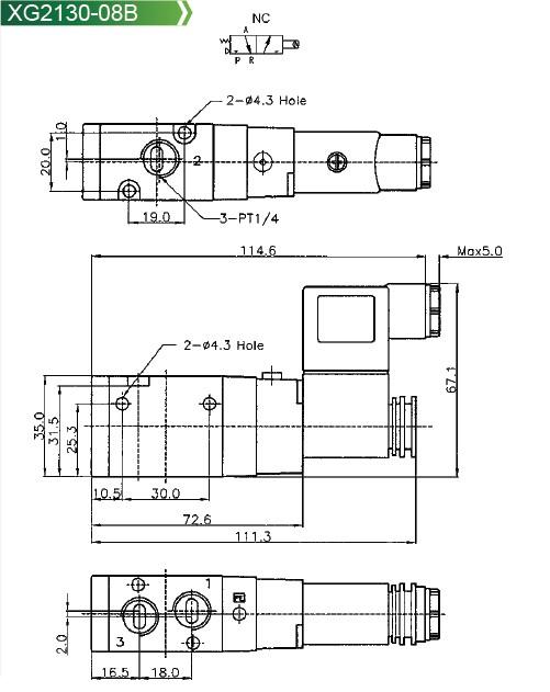 Pneumatic Valve XG3130 Series Spacer Sleeve Solenoid