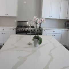 Chinese Kitchen Range Hood Floor Covering Natural Marble Looking Calacatta Quartz Stone ...