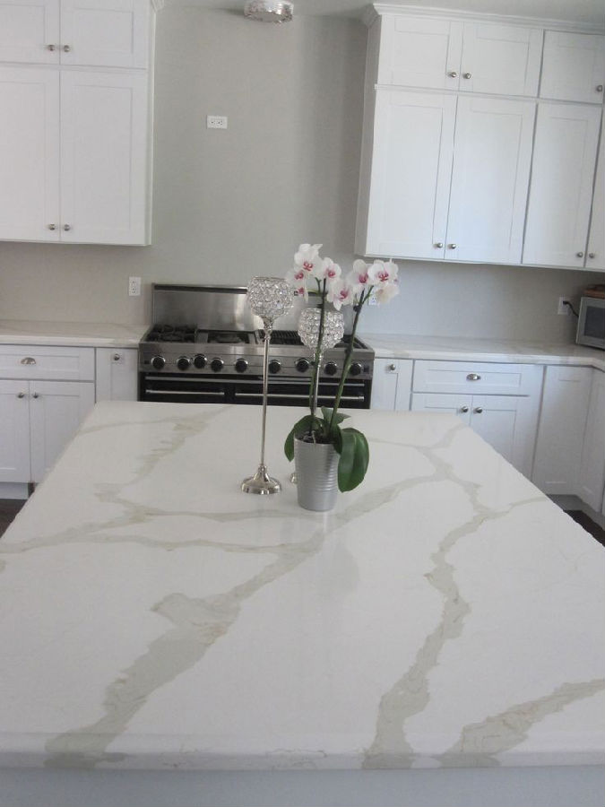 chinese kitchen range hood automatic faucet natural marble looking calacatta quartz stone ...
