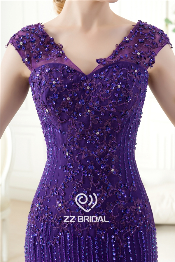 cap sleeve evening dress purple evening dress mermaid