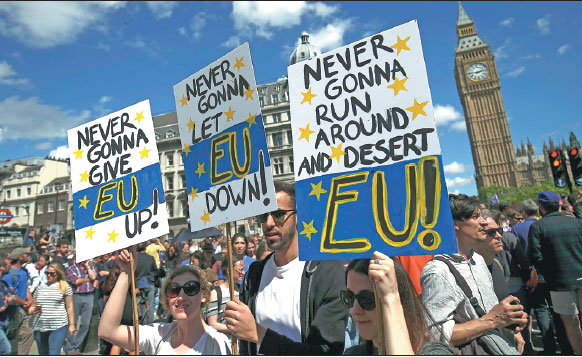 People Hold Banners During A March For Europe Demonstration Against Britain S Decision To Leave