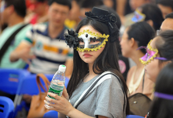 a masked girl participates in a joint dating party in wuhan hubei province on saturday