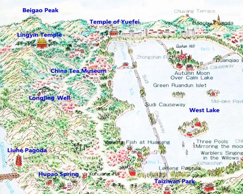 hangzhou maps hangzhou attraction map
