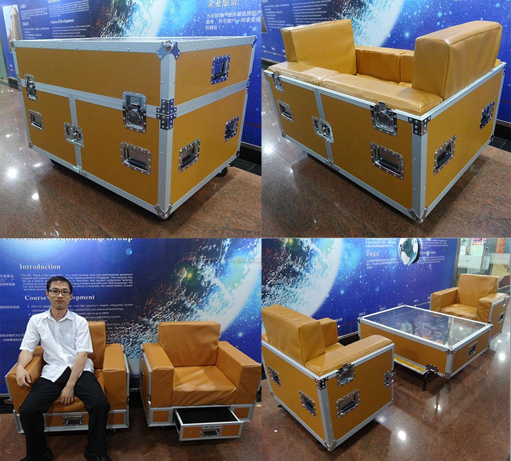 black aluminum outdoor sofa throws for sofas uk smile tech combo flightcase furniture