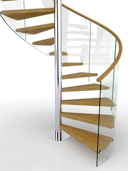 Glass Railing Spiral Staircase Demax Arch | Wood Spiral Staircase Plans | Before And After | Simple | Construction | Kid Friendly | Winding