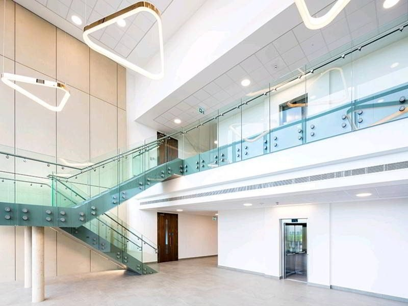 Standoff Glass Railing Demax Arch | Stair Railing Design Glass | Basement Stairs | Modern Staircase | Stair Treads | Oak Staircase | Stainless Steel Railing