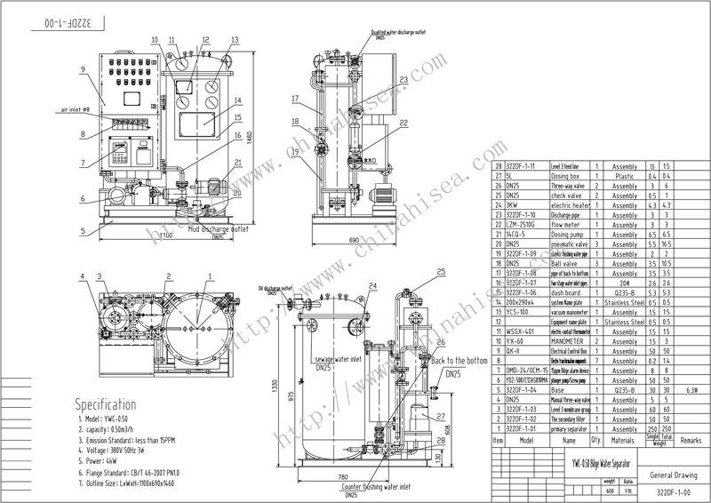 0.50m3/h Oil Platform Oil Water Separating System,0.50m3/h
