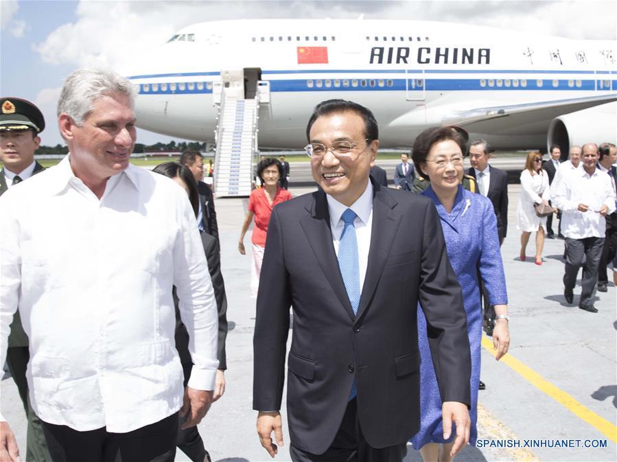 Primer ministro chino llega a Cuba en visita oficial