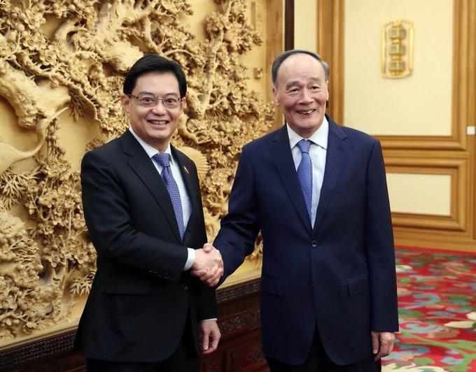 Vicepresidente chino se reúne con vicepremier de Singapur