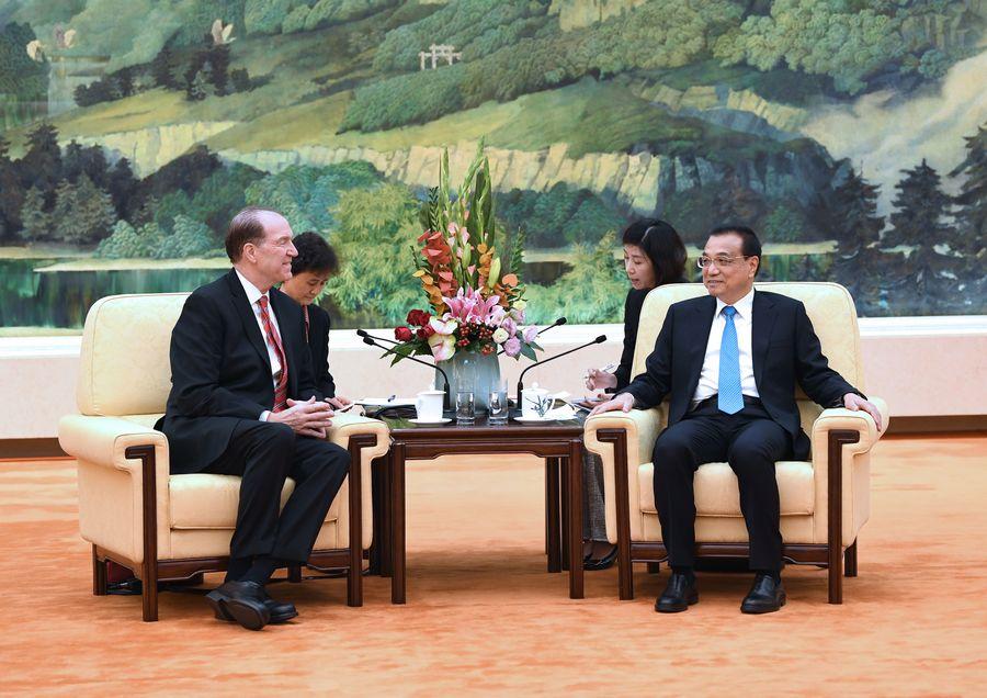 Primer ministro chino se reúne con jefe de Banco Mundial