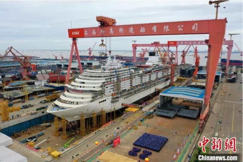 China finaliza construcción de estructura de primer barco crucero de fabricación nacional