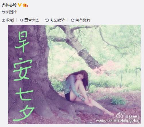 【明星那點事】林誌玲坐樹根上姿態優雅 網友讚:這大長腿(圖)
