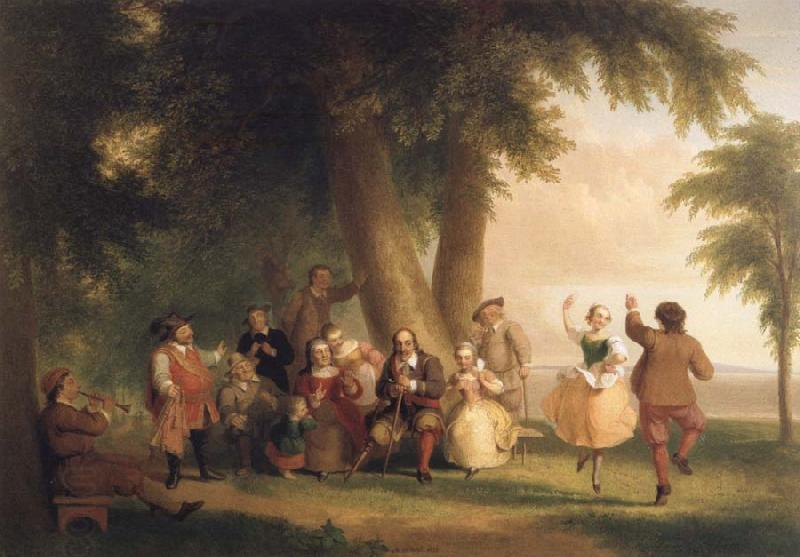 Asher Brown Durand Dance on the Battery in the Presence of Peter Stuyvesant oil painting picture