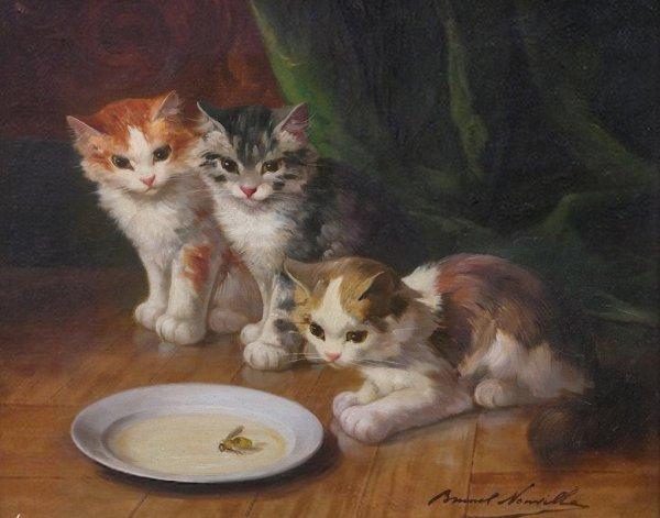 Cat Painting 6 - Alfred Brunel De Neuville Oil