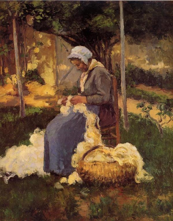 Peasant Woman Carding Wool - Pissarro Oil Painting