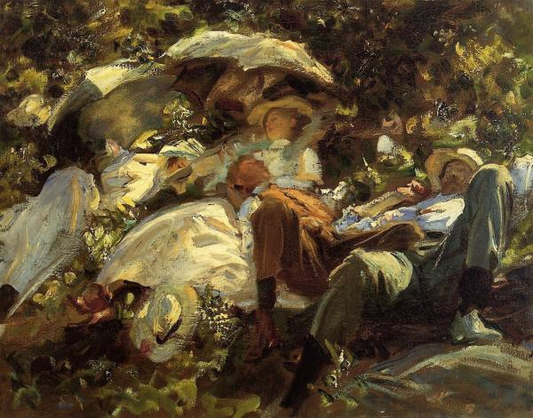 Group With Parasols - Sargent Oil Painting Reproduction