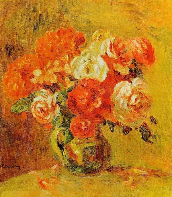 Flowers In Vase 5 - Renoir Oil Painting Reproduction