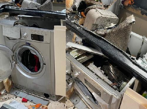 洗衣機運轉中突爆炸 廚房到處都是碎屑殘骸 | 中國報 China Press