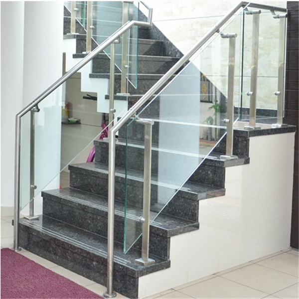 Tempered Glass Stair Railing With Stainless Steel Solid Flat Baluster   Stainless Steel Glass Staircase   House   Ultra Modern   Curved   Mirror   Design
