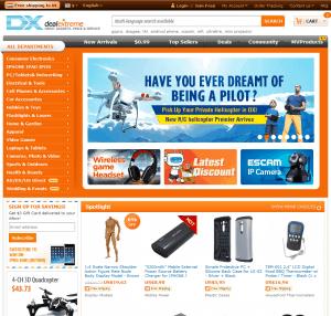Screenshot van de website van DealExtreme / DX.com