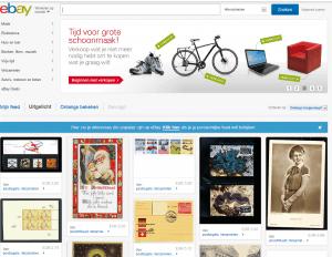 Screenshot van de website van eBay