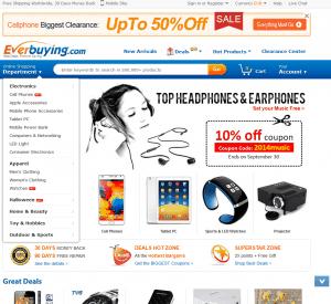 Screenshot van de website van EverBuying