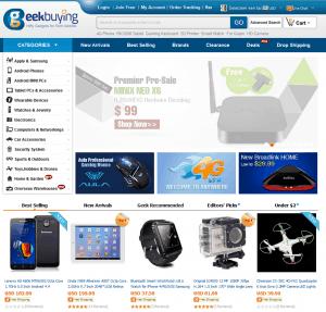 screenshot van de website van GeekBuying