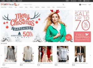 screenshot van de website van sammydress