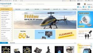 screenshot van de website van tomtop